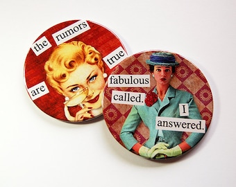 Sassy Women, Drink Coasters, Funny Coasters, Coasters, Gift for her, Hostess Gift, Funny Gift, Stocking Stuffer, Fabulous called (5198d)