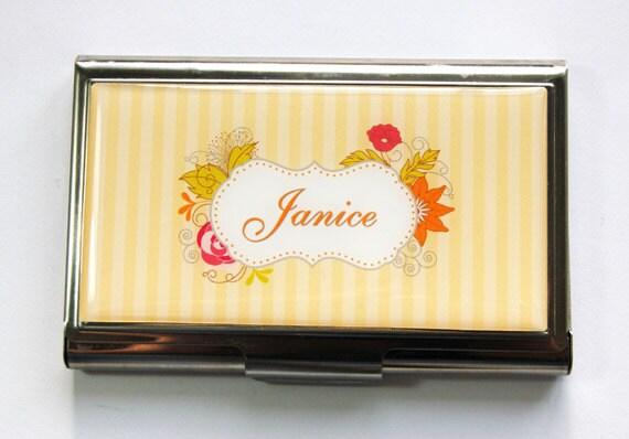 Personnalisé porte-cartes, porte cartes d'affaires, personnalisé, Custom étui, porte-cartes, en acier inoxydable, jaune, cadeau pour son (3534)