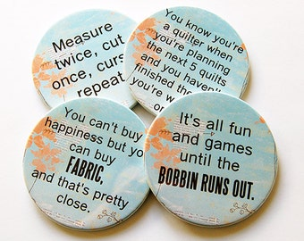 Coasters, Drink Coasters, Gift for Quilter, Gift for Sewer, Funny coasters, Funny Sewing Sayings, Blue, Orange, Humor, Quilter (5217)
