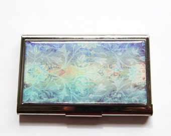 Business Card Case, Stainless steel case, Abstract Design, Card case, business card holder, blue, purple, green (3173)