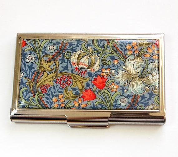 Porte cartes d'affaires, fleur carte affaire, Floral, carte de visite cas, cas, carte de visite porte, bleu, vénitienne impression sur carte (4530)