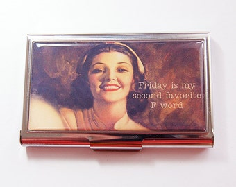 Funny Card Case, Business Card Case, Humor, Funny Business Card Case, Card case, business card holder, F Word, Friday, retro  (4273)