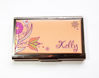 Personalized Business Card Case, Custom Case, Personalized, Flowers, card case, business card holder, stainless steel, Peach, Purple (3181)