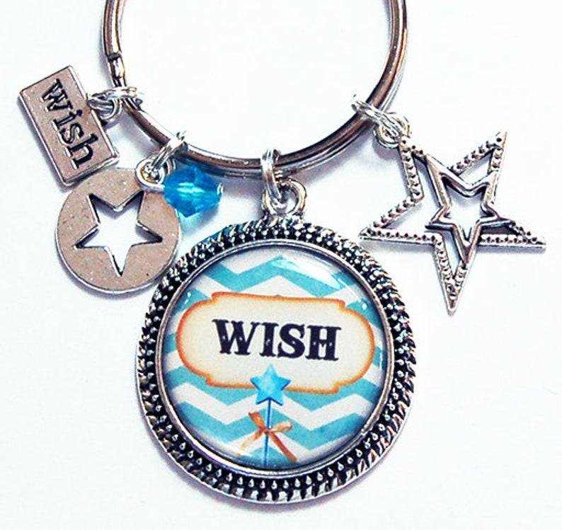 Cute Keychain Keyring for her Wish Keychain Keychain with Charms Keychain for her Wish upon a star 8618 Star Keyring Blue Chevron