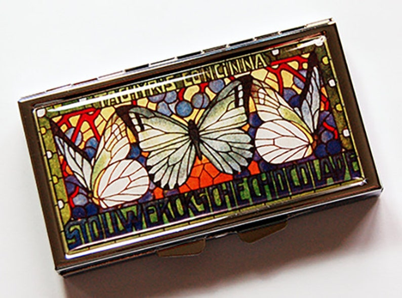 Butterfly 7 day pill box Pill Container 7 sections Pill box butterfly pill box Pill Case Butterfly pill case 7096 green