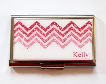 Personalized Business Card Holder, Chevron, business card case, Personalized, card case, Custom Case, Chevron, Pink, metal card case (5301)