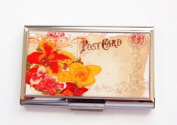 Le titulaire de carte de visite, porte-cartes, Lily, Lily carte étui, porte-cartes, le cas de carte fleur, floral cas, Orange, jaune, rouge (3802)