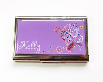 Personalized Business Card Case, Custom Case, Personalized, card case, business card holder, Purple, Paisley, stainless steel (3180)