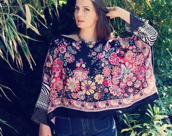 Upcycled Blouse, Upcycled Clothing for Women, Upcycled Top, Bohemian Blouse, Upcycled Clothing, Boho Clothing, Bohemian Clothing