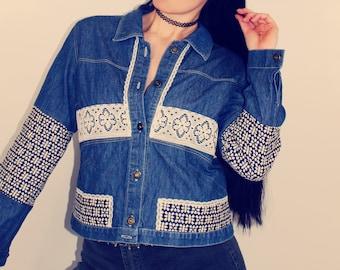 Upcycled Jacket, Upcycled Clothing for Women, Patchwork Jacket, Embellished Jacket, Boho Clothing, Upcycled Clothing, Sustainable Clothing
