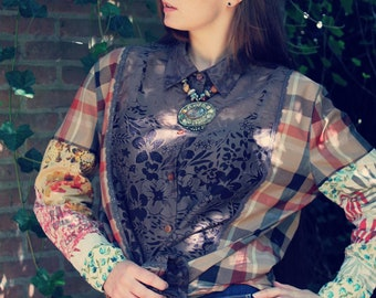 Upcycled Blouse, Upcycled Clothing for Women, Patchwork Top, Upcycled Top, Bohemian Blouse, Upcycled Clothing, Bohemian Clothing