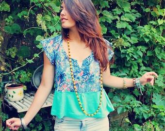 Sheer Top, Summer Top, Upcycled Top, Bohemian Top, Boho Top, Upcycled Clothing, Bohemian Clothing, Summer Clothing