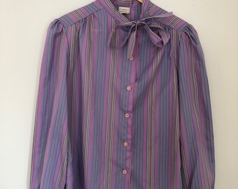 92c59c1f1a2425 Vintage JCPenney Fashions Purple Striped Ladies Blouse Size 12