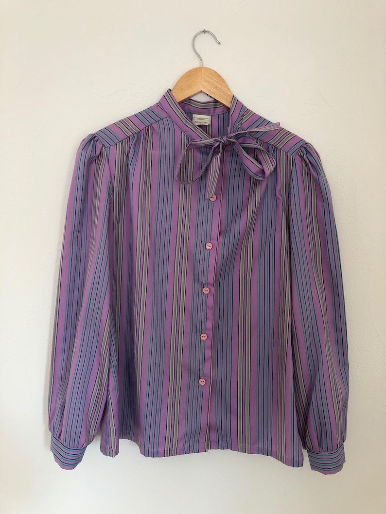 ebdf59821de39 Vintage JCPenney Fashions Purple Striped Ladies Blouse Size 12