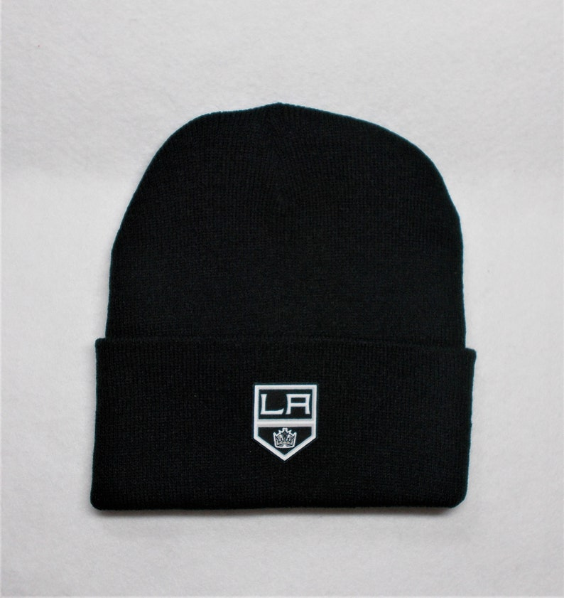 Great Quality. Black Cuffed Beanie Los Angeles Logo Handcrafted From Licensed Fabric Unisex Adult one size to fit most all