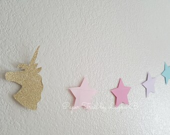 Unicorn Party Garland in Gold Glitter and Pastel Stars. Unicorn Birthday Party Decorations. Magical Unicorn Kisses. Star Garland. 8.5 FEET