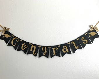 Congrats Graduation Banner In Black And Gold Graduation Etsy
