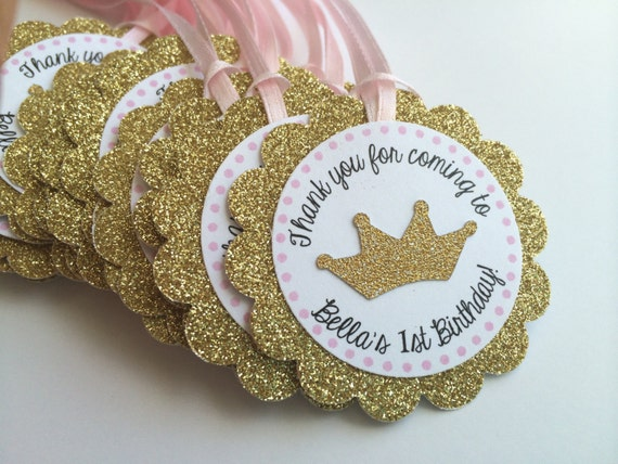 12 Gold Glitter Gift Tags