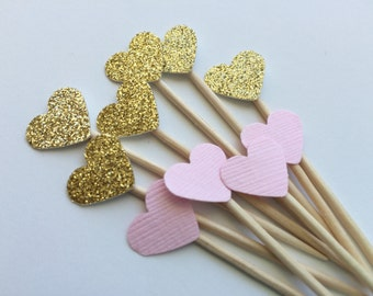 48 Gold and Pink Mini Heart Cupcake Toppers or Food Picks.  Weddings, Bridal Shower or Baby showers.