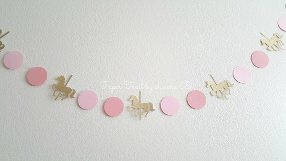 Carousel Party Garland Confetti In Pink And Gold Glitter Carousel