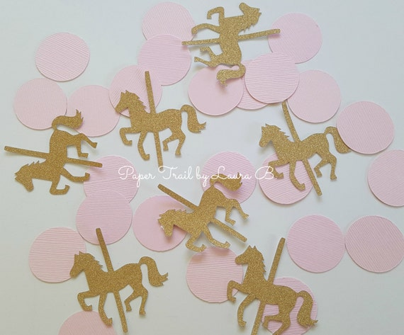 Carousel Confetti In Pink And Gold Glitter Carousel Horse Party