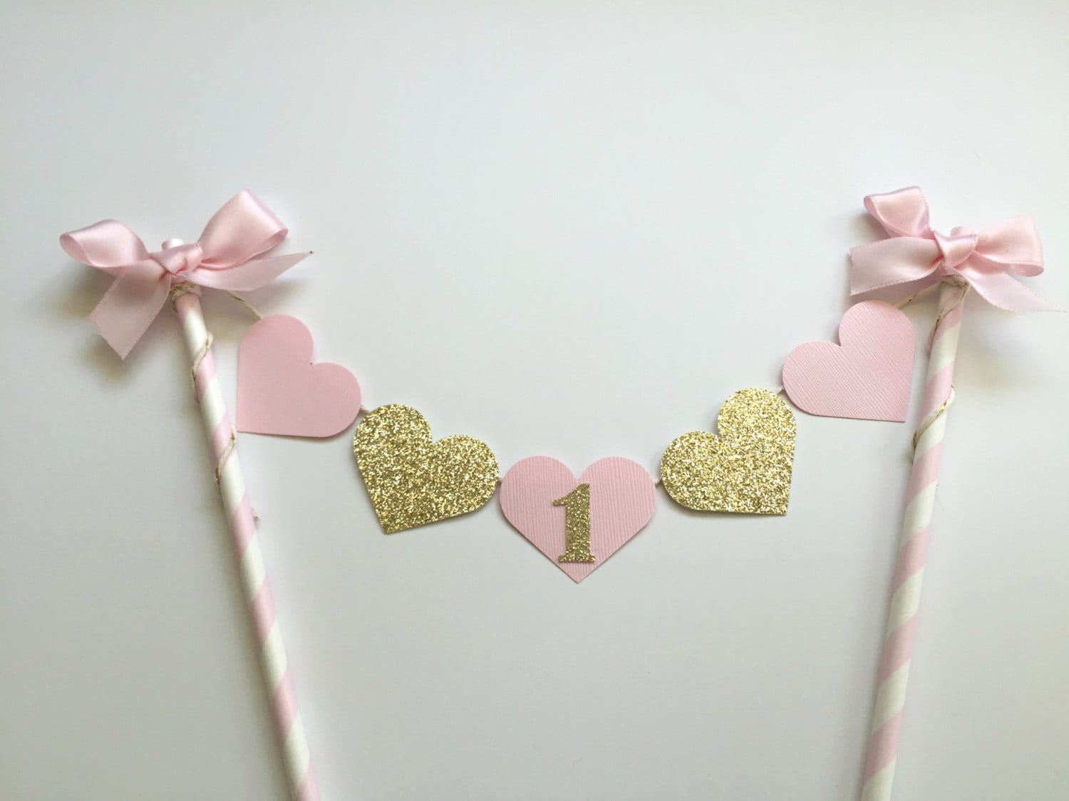 Pink And Gold Cake Bunting Banner One Shabby