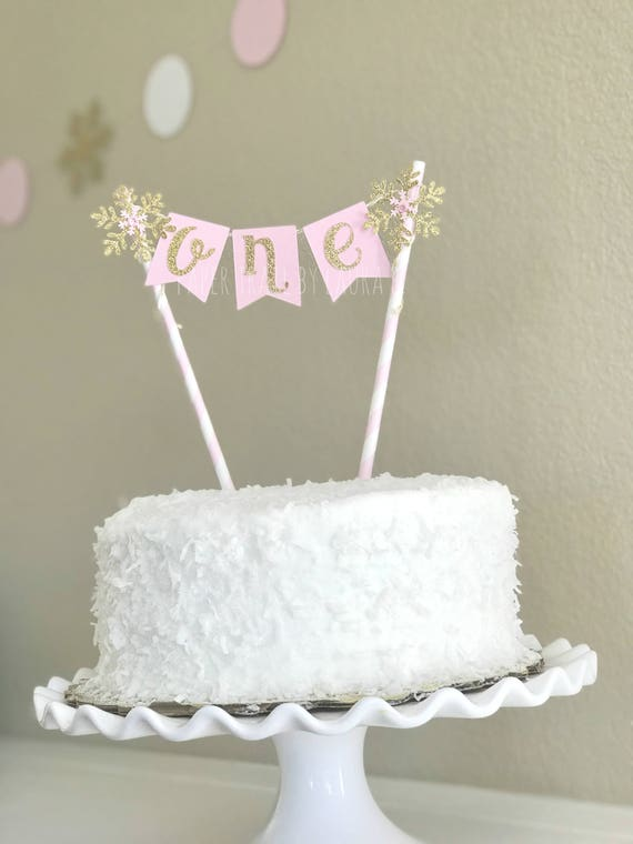 Pink Gold Snowflake Birthday Cake Topper First Birthday Etsy