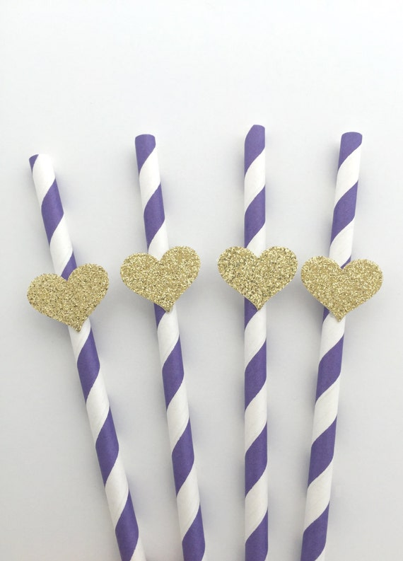 6 Purple Straws With Gold Glitter Heart Party Decorations Dessert Table Decor Baby Shower Bridal Wedding Or Birthday