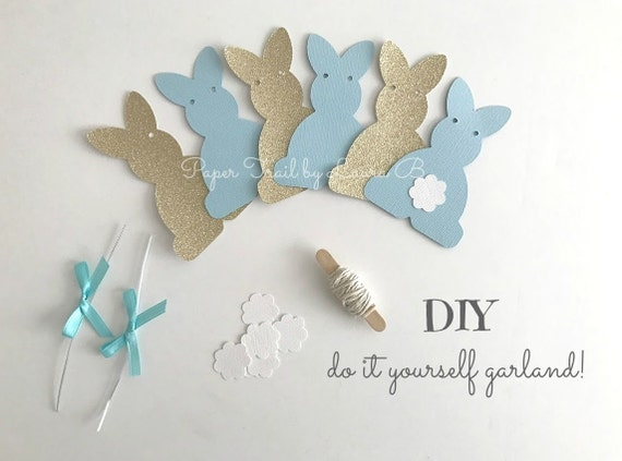 DIY Bunny Party Garland Kit In Light Blue Gold For 1st Birthday