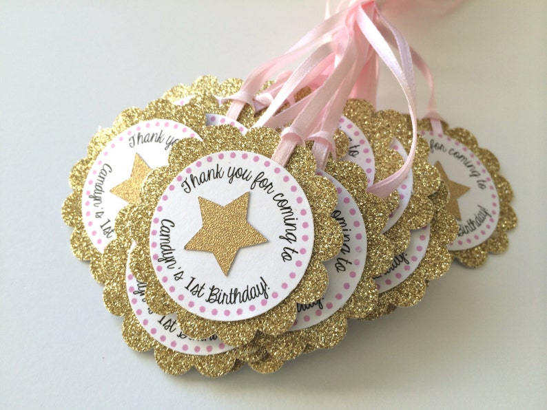 Gold and Pink Party Twinkle Little Star Party 12 Gold Glitter Personalized Tags with STAR Sparkly Tag