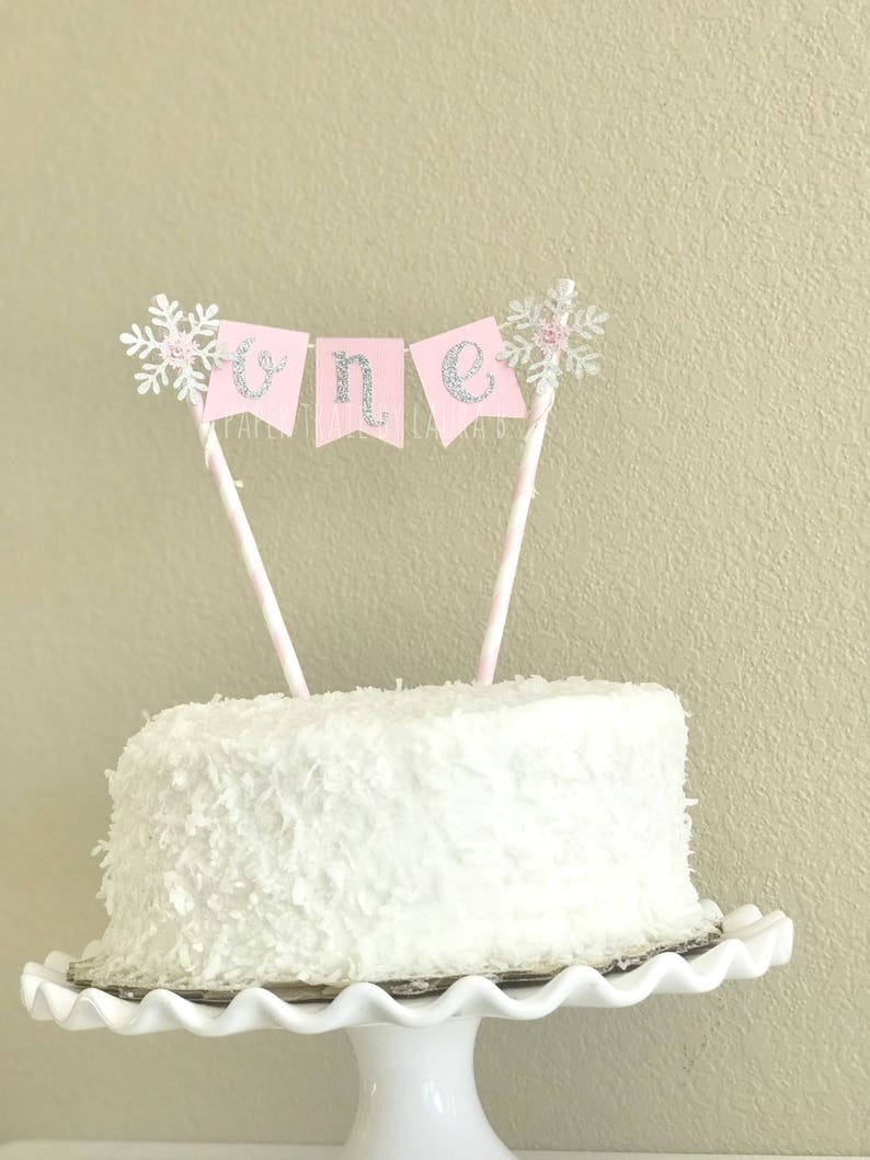 Pink Silver Snowflake Birthday Cake Topper First