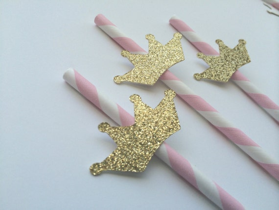 Pink and Gold Paper Straws with number cutout Baby Showers First Birthday Decorations Bridal Showers Handmade Party Decorations for Birthdays 12CT