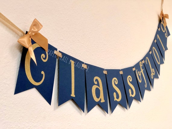 Class Of 2019 Graduation Banner In Navy Blue And Gold Graduation