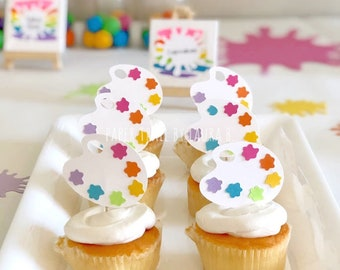 Art Party Cupcake Topper Paint Pallet.  Art Party, Rainbow Party Decorations, Art Birthday Decorations, Painting Art Splat Decorations. 12CT