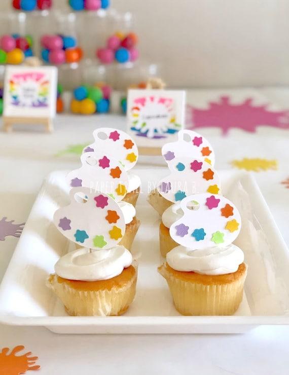 Art Party Art Birthday Decorations Art Party Cupcake Topper Paint Pallet Painting Art Splat Decorations 12CT Rainbow Party Decorations