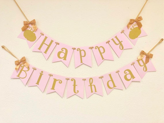 Pink and Gold Birthday Little Pumpkin Birthday Banner Happy Birthday Banner Little Pumpkin Party Banners  Package