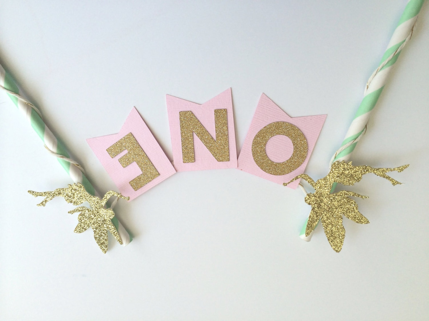 Fairy Cake Topper In Pink Gold And Mint For 1st Birthday