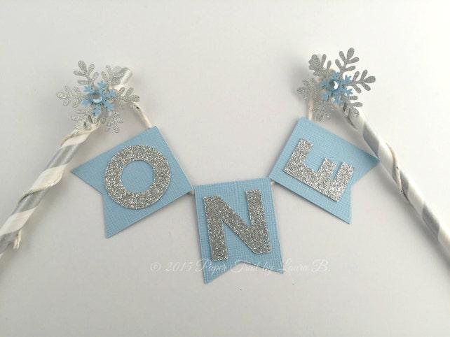 Light Blue Silver Snowflake Birthday Cake Topper
