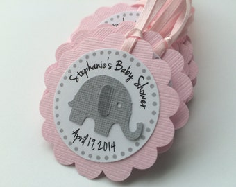 12 Pink and Grey Elephant Personalized Tags.  Pink Baby Shower or Birthday Party Favor Gift Tags.