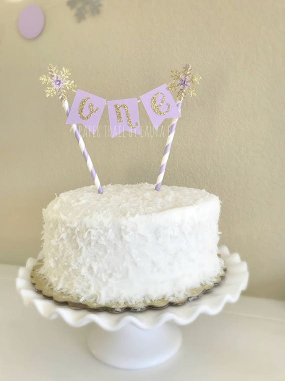 Lavender Gold Snowflake Birthday Cake Topper First Etsy