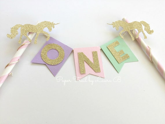 Magical Unicorn Cake Topper in Lavender, Pink Mint and Gold Glitter . Birthday Cake Topper, Smash Cake Topper, Photo Prop