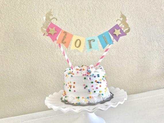 Rainbow Unicorn Cake Topper With Gold Glitter 1st Birthday