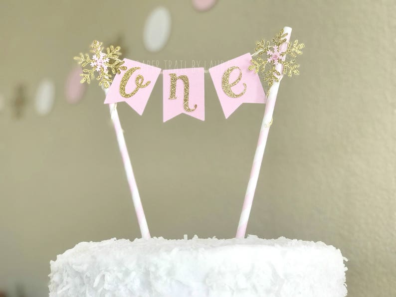 Pink Gold Snowflake Birthday Cake Topper First