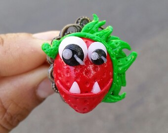 Rotten Fruit Monster ring, polymer clay ring, polymer clay monster