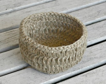 Crocheted Bowl Table Decor,  Hostess Gift, Jute Crochet Storage Basket, Trinket Holder Primitive Natural Jute Home Decor