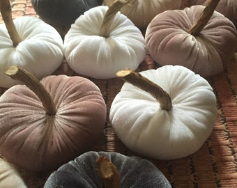 Velvet Pumpkins in Dusk Pink, Champagne,Gray, Ivory, Purple, Baby pink,Olive green Decor, Fall and Halloween Decor - set of three