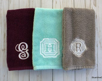 Personalized Hand Towels With Choice Of Monogram Letter Preppy Chic Chevron