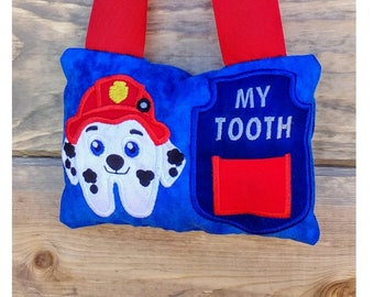 Fire pup Marshall inspired tooth themed fairy pocket pillow- red, blue and white