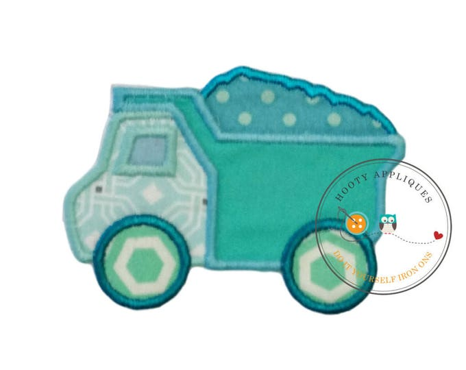Small baby blue dump truck. Iron embroidered fabric applique patch embellishment-ready to ship