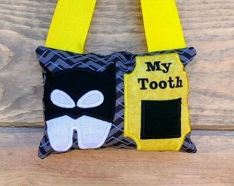 Batman themed fairy pocket pillow- yellow and black